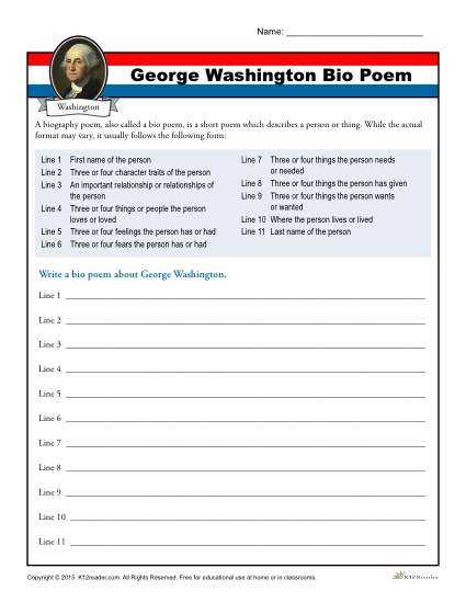 Washington's Birthday Worksheet Activity | Bio Poem