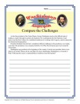 Presidents' Day Printable Worksheet Activity - Washington Versus Lincoln - Compare the Challenges