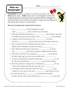 What are Homographs - Free, Printable Worksheet Activity