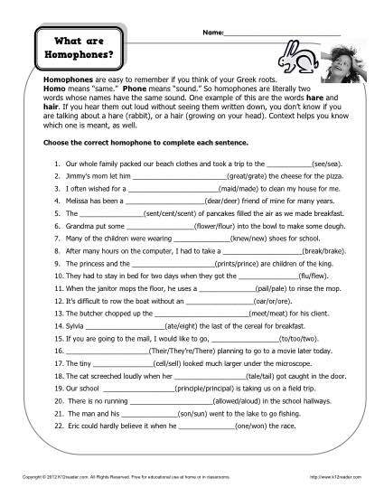 What are Homophones? Homophone Worksheet