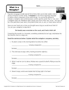 Metaphor Worksheet - What is a Metaphor?