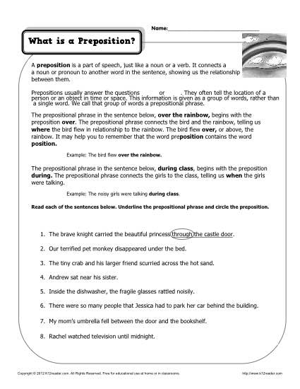 What is a Preposition? Free, Printable Worksheet Practice Activity