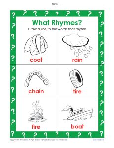 Draw a Line to the Words that Rhyme - Rhyming Worksheet for Kids