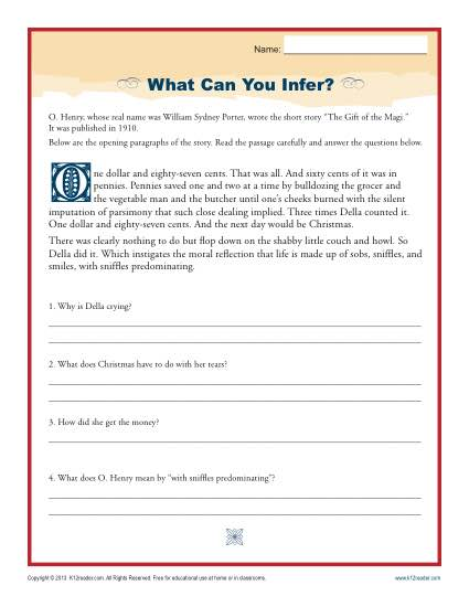What Can You Infer High School Inference Worksheets