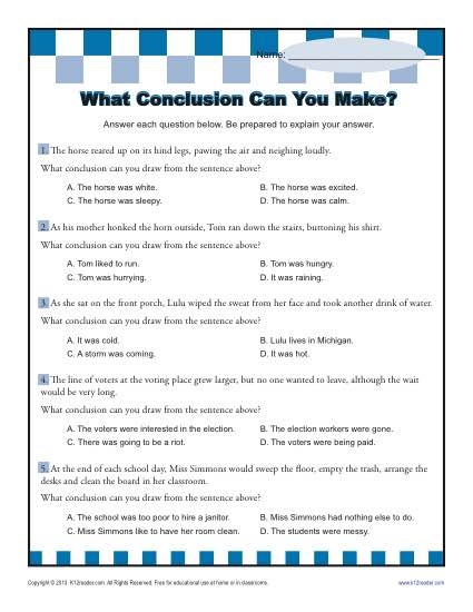What Conclusion Can You Make Conclusion Worksheets