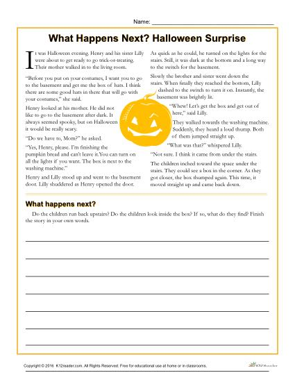 halloween surprise printable reading comprehension activity. Black Bedroom Furniture Sets. Home Design Ideas