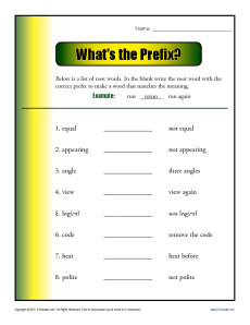 Prefix Worksheet Activity - What's the Prefix?
