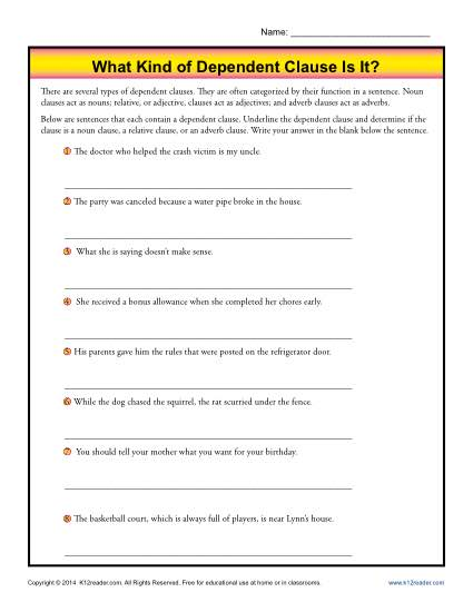 Dependent Clause Worksheet