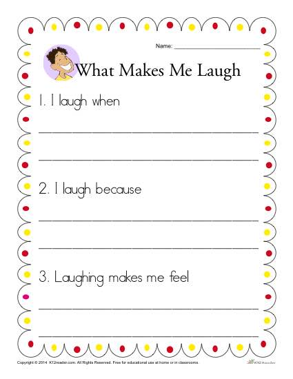 Kindergarten Writing Prompt - What Makes me Laugh?
