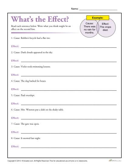 Cause and effect worksheets with answers
