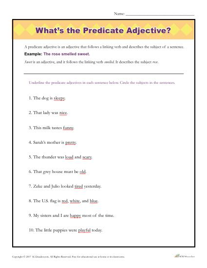 What's the Predicate Adjective? | Printable Parts of Speech Activity