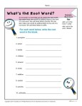 What's The Root Word - Printable Vocabulary Worksheet