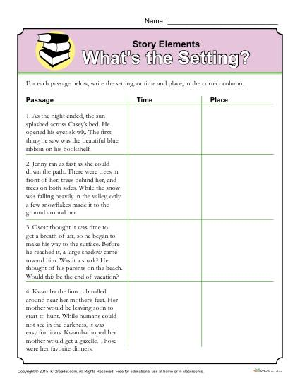 What's the Setting - Story Elements Printable Reading Skills Worksheet