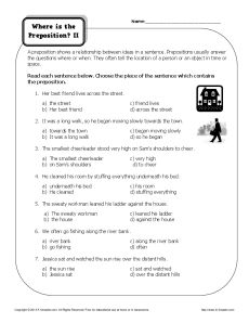 Practice Learning About Prepositions - Free, Printable Worksheet Activity