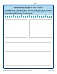 Free Printable Kindergarten Writing Prompt - Where Does Water Come From?