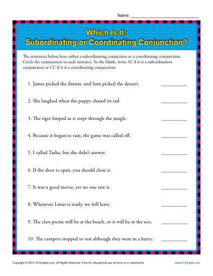 Subordinating or Coordinating Conjunctions? | 5th Grade Worksheeets