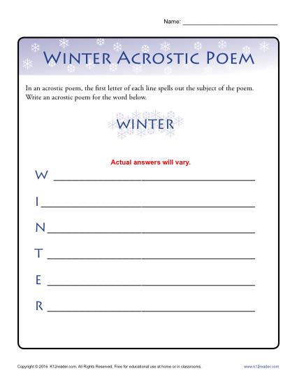 Winter Acrostic Poem Activity
