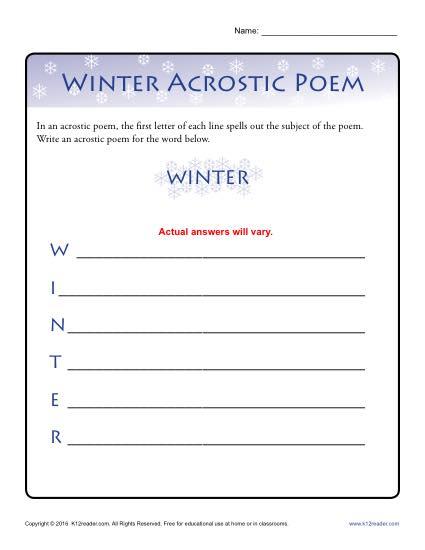 Winter Acrostic Poem Activity
