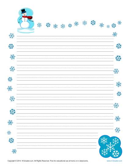 Winter Lined Writing Paper  Printable Lined Paper