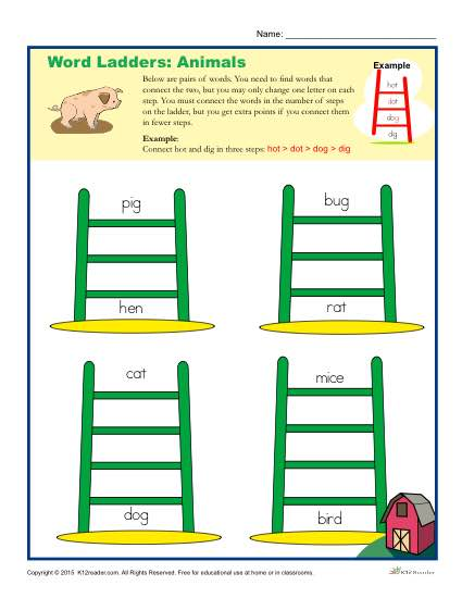 Printable Word Ladders Activity about Animals - Elementary School Activity