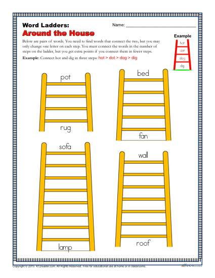 Printable Word Ladders Activity - Things Around the House