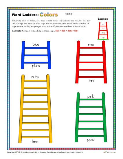 Printable Word Ladders Activity About Colors