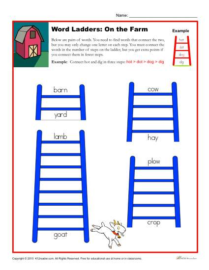 Word Ladders Worksheet Activity - On the Farm