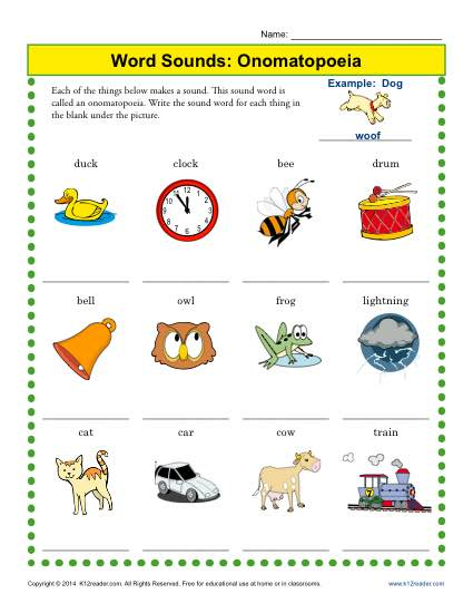 Onomatopoeia Worksheet Practice Ativity