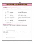 Working With Figurative Language - Free, Printable Worksheet Lesson Activity