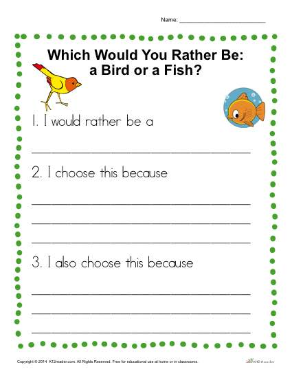 Kindergarten Writing Prompt - Would You Rather be a Bird or a Fish?