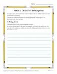 Write a Character Description - Printable Reading Skills Worksheet