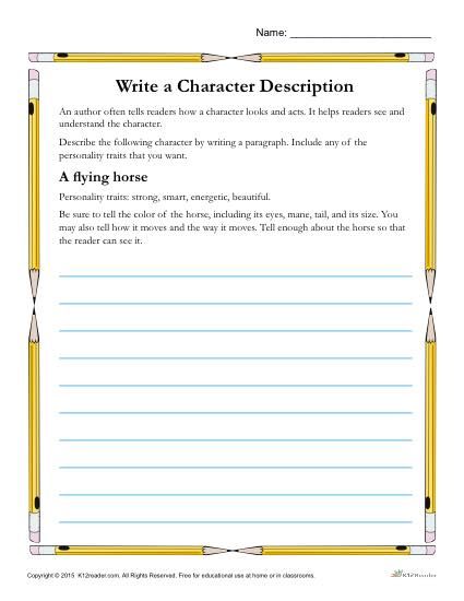 Write a Character Description - Printable Reading Skills Worksheet