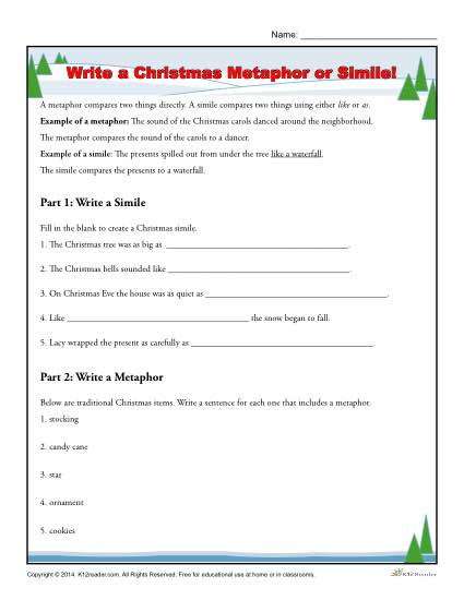 Free, printable Christmas Worksheet - Write a Metaphor or Simile