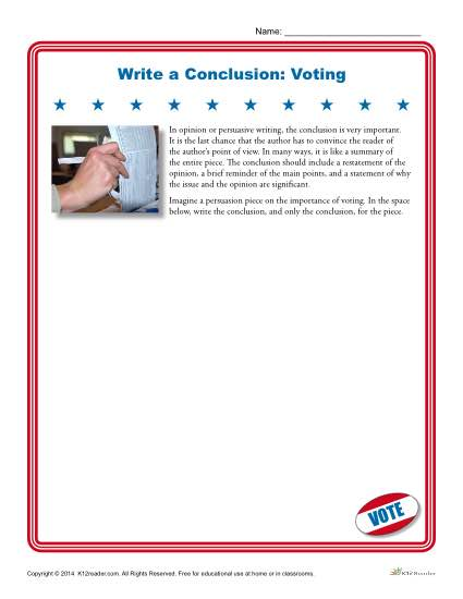 Write a Conclusion Writing Activity - Voting