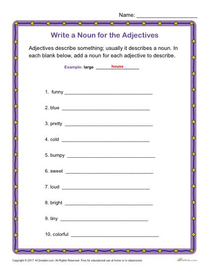 Write a Noun for the Adjectives | Printable Grammar Worksheet