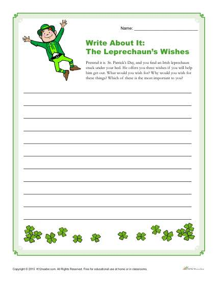 St. Patrick's Day Writing Prompt - The Leprechaun's Wishes