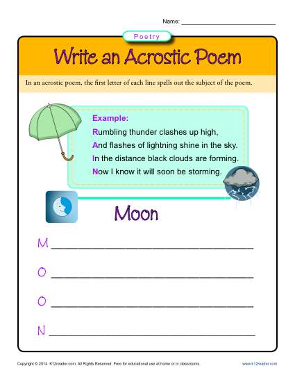 First Grade Poetry Worksheets and Printables