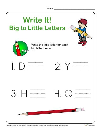Preschool Letter Worksheets - Write it! Big to Little Letters