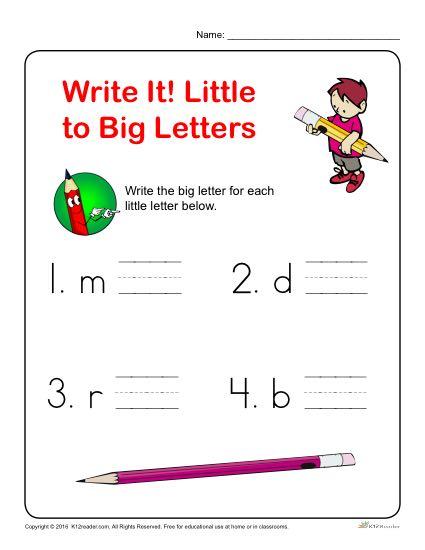 Preschool Letter Worksheets - Write it! Little to Big Letters