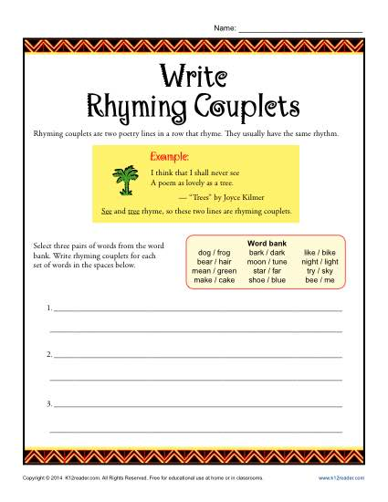 Poetry Worksheet Activity - Write Rhyming Couplets