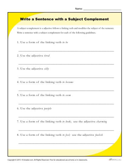 Write a Sentence with a Subject Complement Printable Worksheet