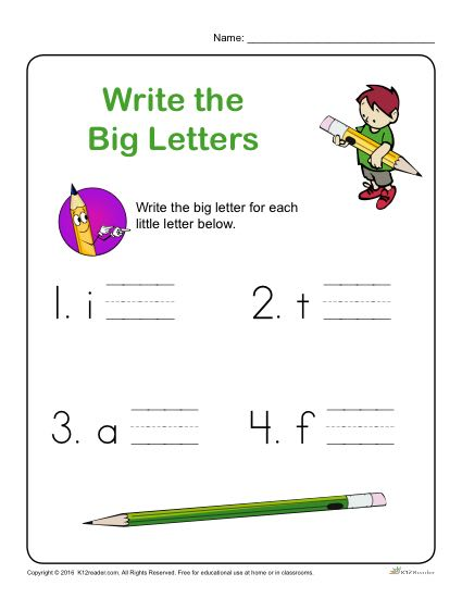 Preschool Letter Worksheets - Write the Big Letters for each Little Letter