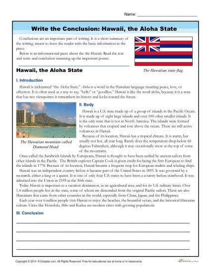 Write a Conclusion about Hawaii - Free, Printable Activity