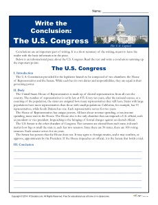 Write a Conclusion Paragraph About the U.S. Congress
