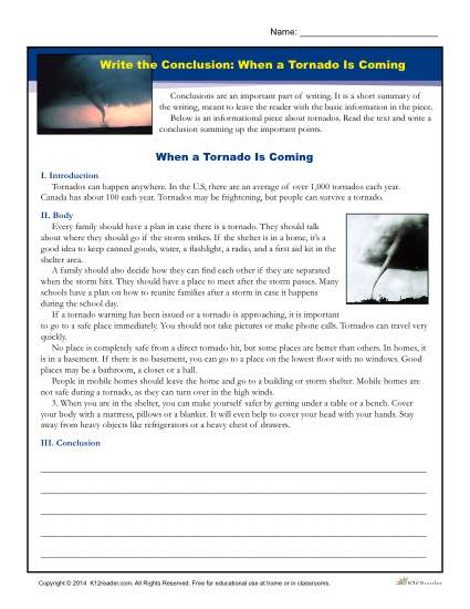 Write a Conclusion Printable Activity - When a Tornado is Coming