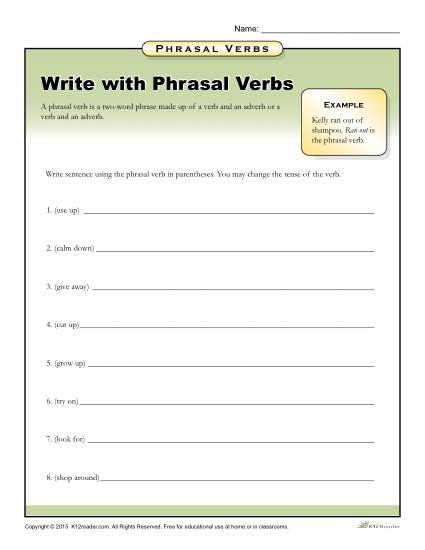 Write With Phrasal Verbs - Grammar and Writing Printable Activity