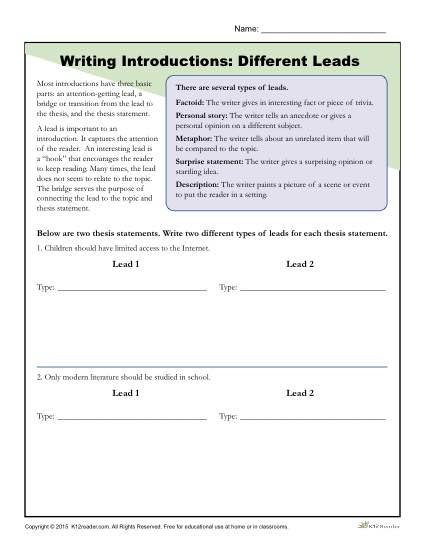 How to Write an Introduction Worksheet Activity: Different Leads