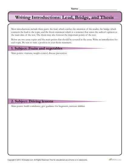 How to Write an Introduction Worksheet: Lead, Bridge and Thesis