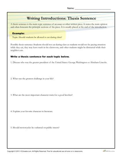 How to Write a Thesis Statement Worksheet Activity