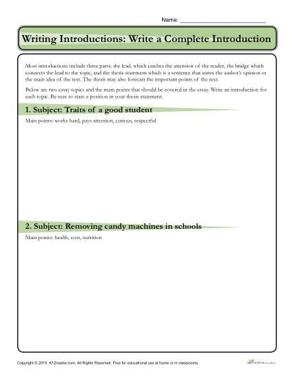 How to Write an Introduction Worksheet Activity
